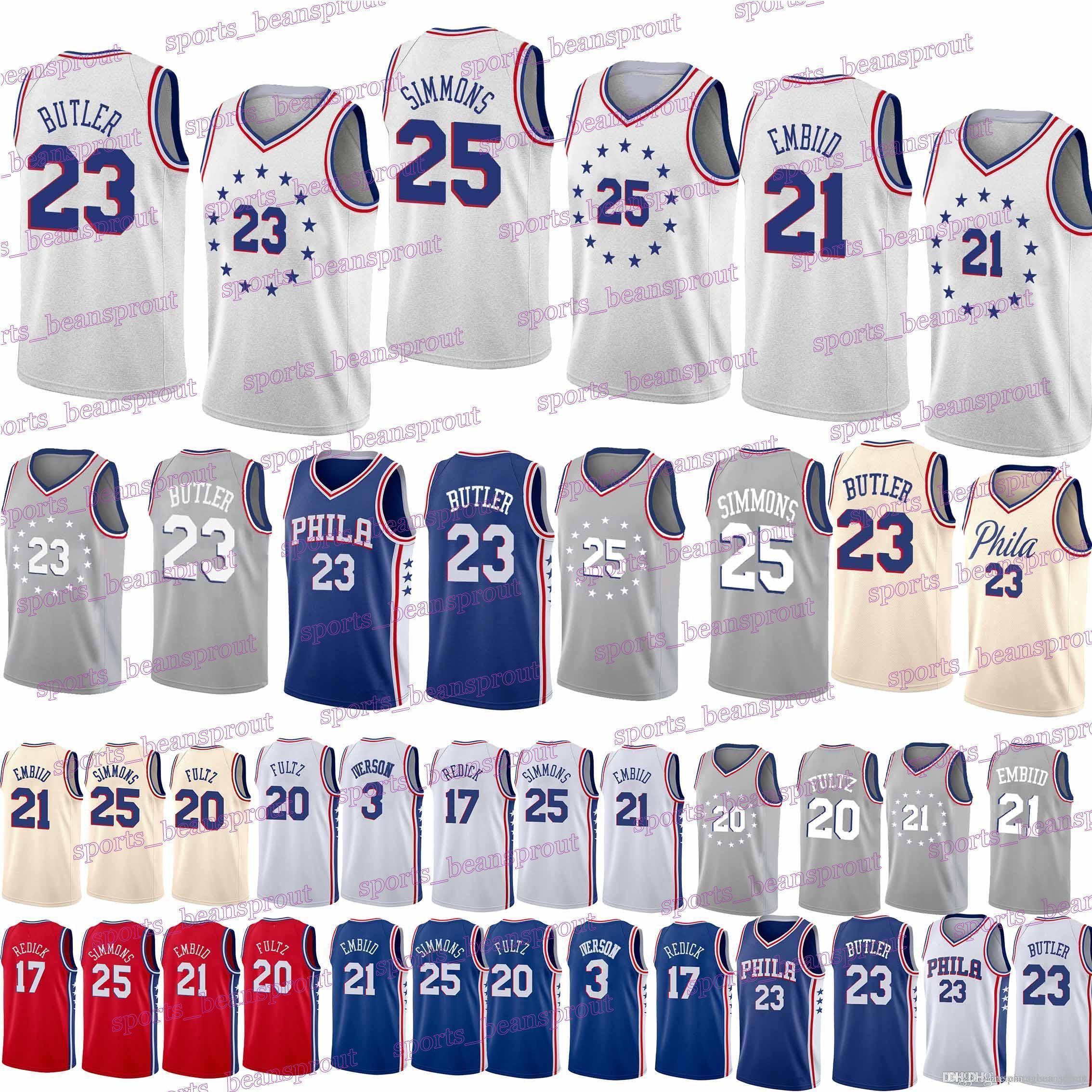6346385f9c8 76ers Jerseys 21 Joel Embiid 25 Ben Simmons 17 J.J. Redick 3 Allen ...