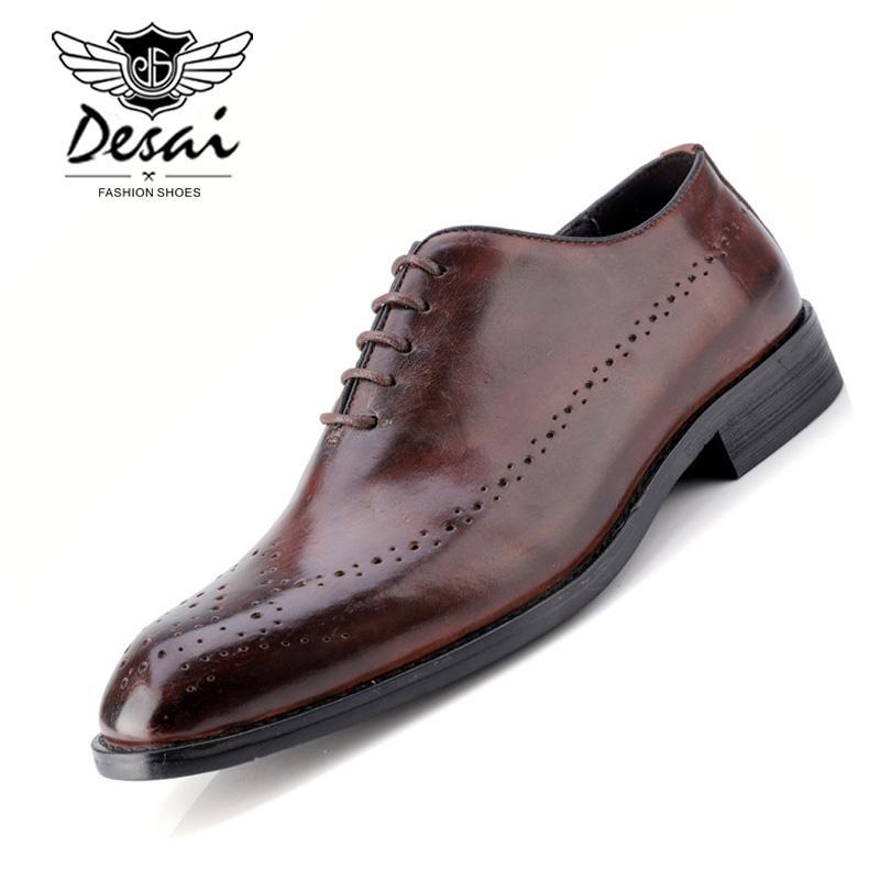 74876cf942 Compre DESAI Traje De Vestir De Negocios En Cuero Natural De Los Hombres  Zapatos De Marca Para Hombre Bullock Cuero Genuino Con Cordones Negros  Zapatos De ...