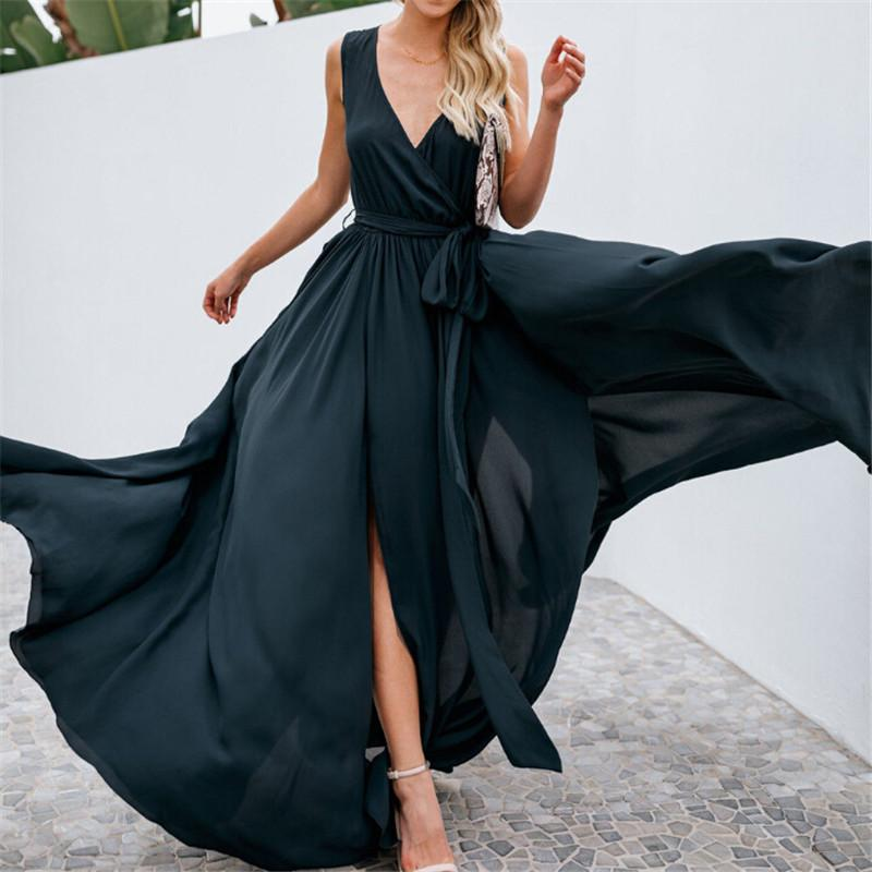 7 Renk Zarif Kadın Yaz Boho Uzun Maxi Elbiseler Bayanlar Akşam Partisi Plaj Elbise Tatil Moda V yaka elbiseler vestidos