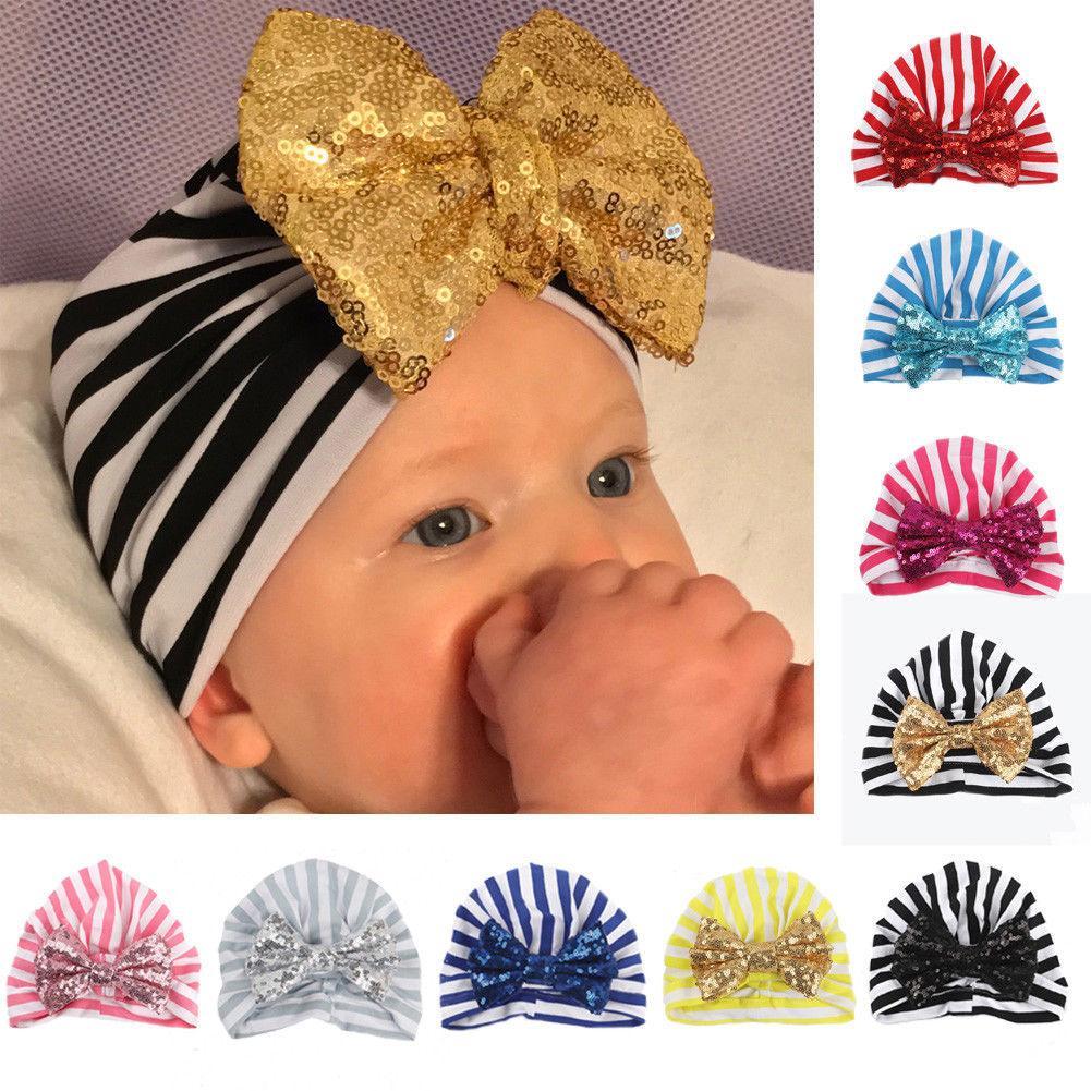 13c04d07fbf 2019 Cute Newborn Baby Girls Boys Hats Toddler Kids Sequin Bow Soft  Chrismas Hats Beanie Cap Infant Princess Striped Caps From Yohkoh