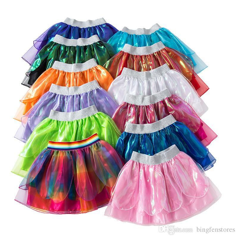 Kids designer clothes Girls Skirts 2019 new Summer baby rainbow Tutu Skirts lotus leaf Kids Skirt girls dress clothing 11 colors