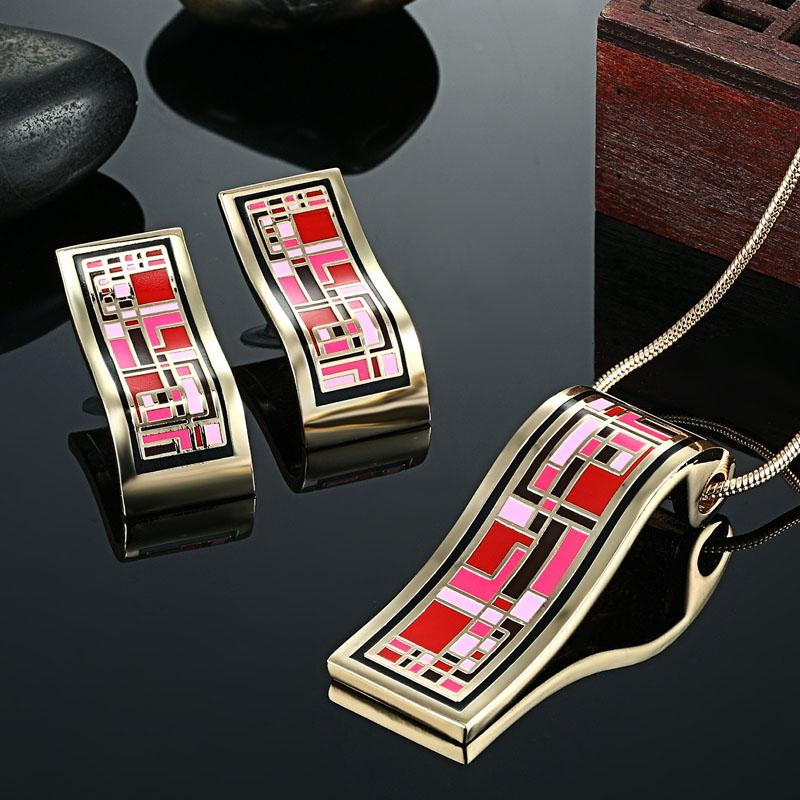 Zlxgirl jewelry Red Pink color Russian design Enamel necklace Earring jewelry sets Brand gold color wedding Bridal accessory Ear