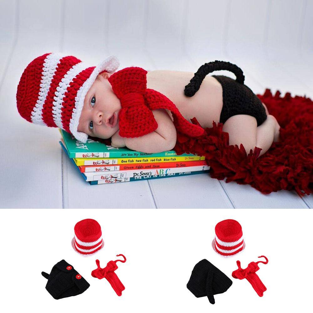 Newborn crochet baby costume photography props knitting magician baby boys  hat 3pcs/set baby photo props 0-3M