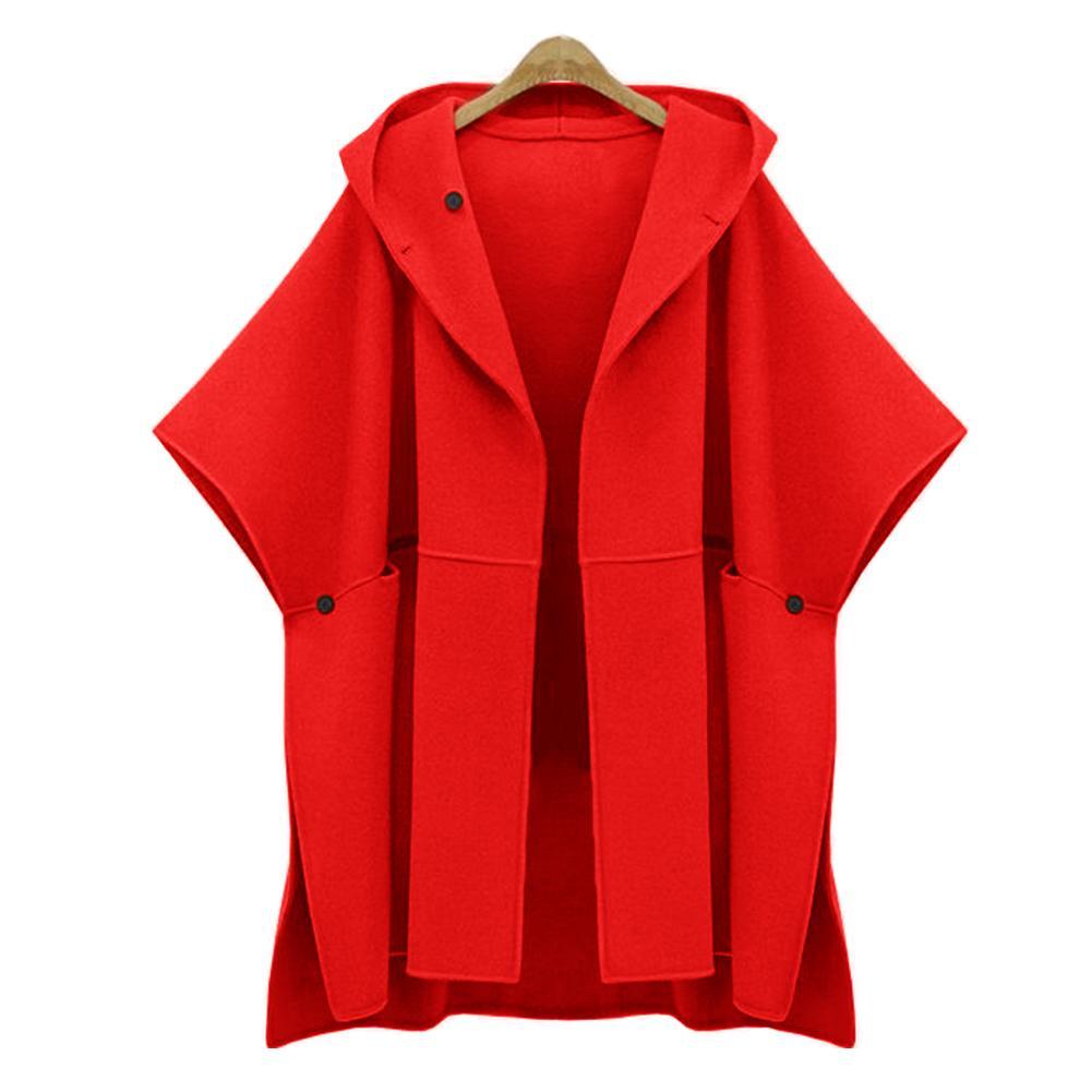 854ae2ff9a690 Women Loose Casual Cloak Woolen Winter Outwear Warm Windbreaker Plus ...