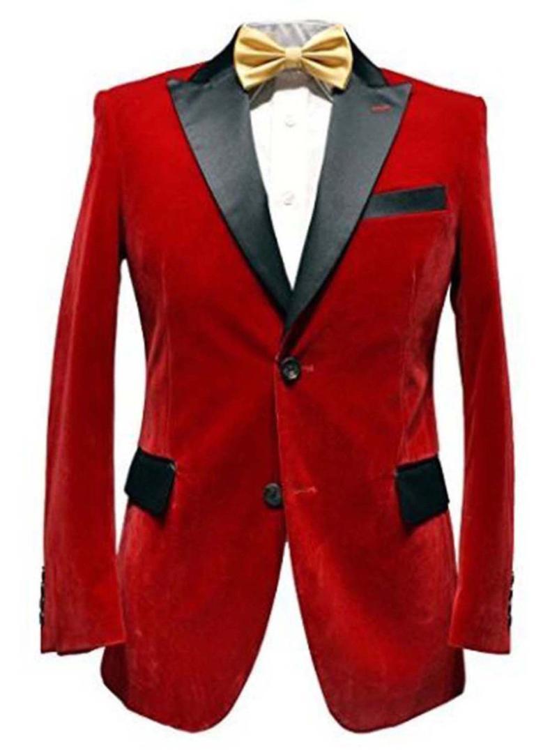 f753c81dda46 Acheter Veste De Smoking En Velours Rouge Pour Homme De Mariage Élégant  Designer Party Wear Blazers Noir Veste Seule Veste De  127.61 Du Silan