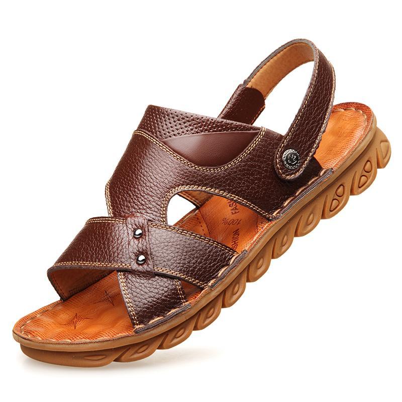 Moyen Antidérapantes Ans Plage Chaussures Été De 40 Papa Sandales Pour En D Cuir Homme Âge 50 EDH2W9I