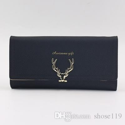 Simple pure color new cartoon deer head design three fold long lady hand bag multi-functional personality temperament long purse