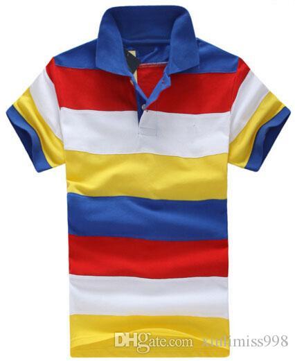 Yüksek Kalite Erkekler Çizgili Polos Gökkuşağı Küçük Midilli Nakış Moda Erkek Renkli Polo Gömlek Dazzle İş Tees Tops Sarı Kırmızı