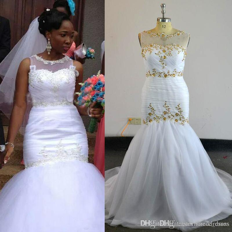 Real Photos White Mermaid Wedding Dresses Gold Beads Appliques Lace Up Plus  Size African Bridal Gowns Sweep Train SE005 Cream Wedding Dresses Designer  ... bc4e3b97df22