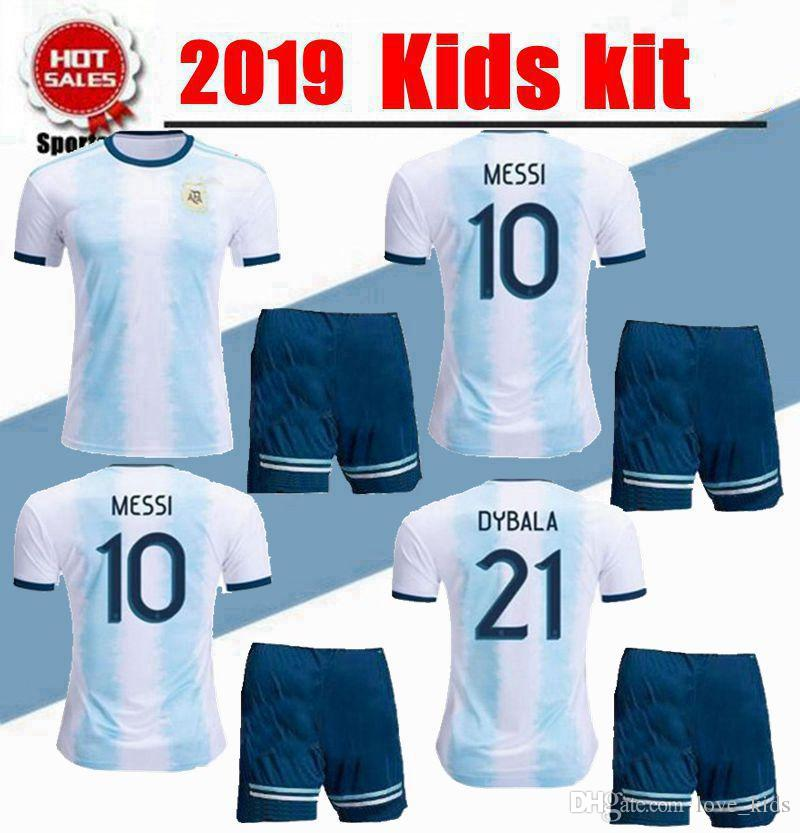 pretty nice 81164 6fa38 2019 Kids kit Argentina soccer Jersey youth boy MESSI home Soccer Jerseys  19/20 Child Aguero Di Maria Dybala away Soccer jersey shorts