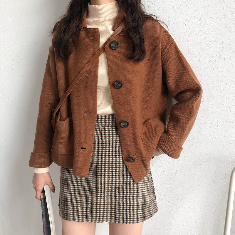 3 colors 2019 autumn korean style solid color turn down collar knittd cardigans womens sweaters womens (X201) Y200116
