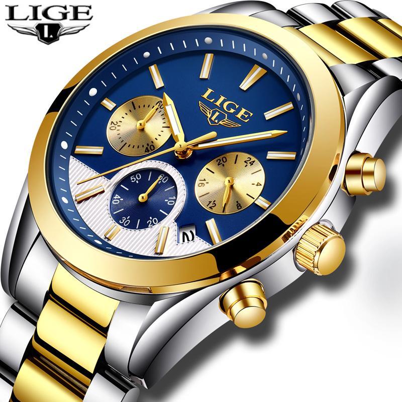 da88c6224ba5 Compre 2019 Nuevo LIGE Relojes Para Hombre De Primeras Marcas De Lujo Moda  Negocio Negocio Reloj De Cuarzo Hombres Impermeable De Acero Completo Reloj  ...