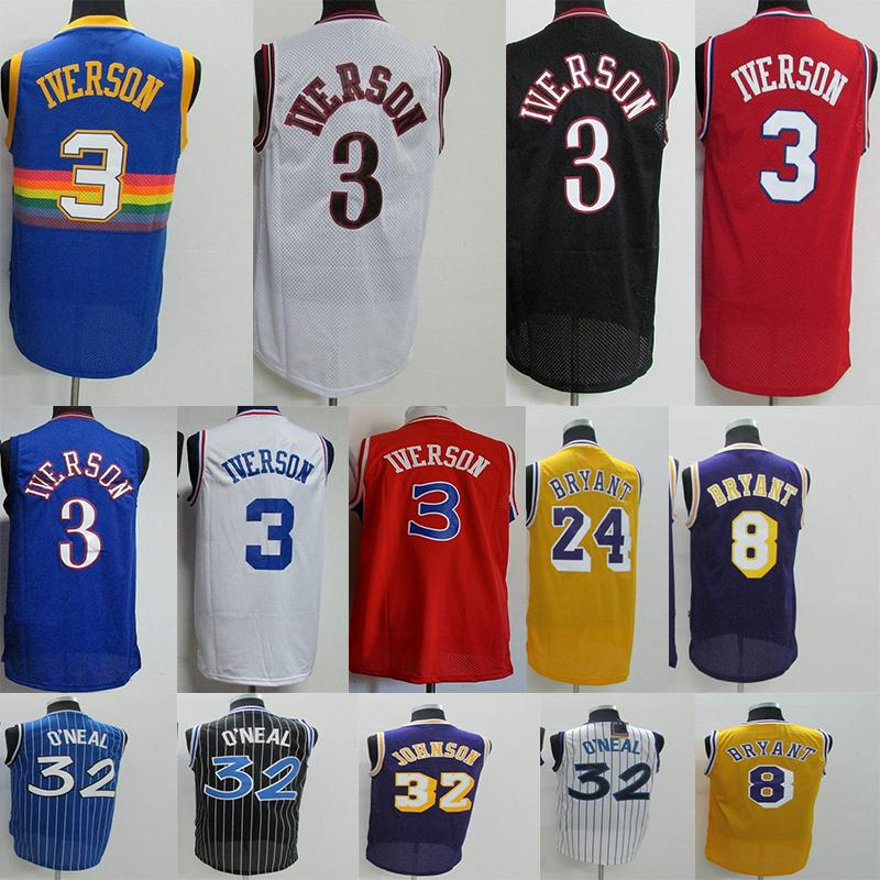 8bcc9ea8a Men Allen 3 Iverson Jersey Kobe 24 8 Bryant Shaquille 32 Oneal ...