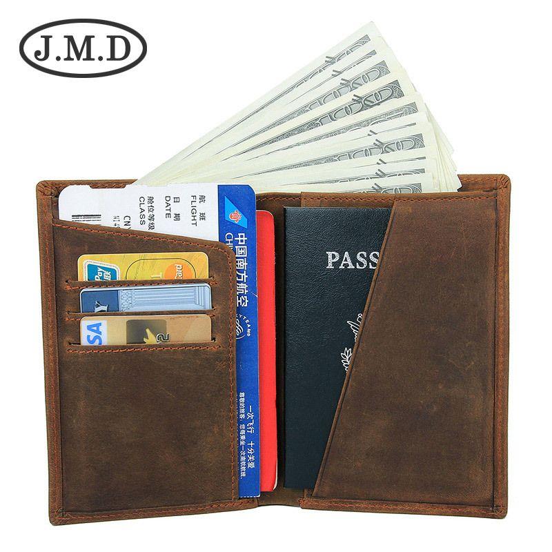 f73e9cf3b Compre J.M.D Nuevo Bolso Pasaporte De Cuero Genuino Titular De Pasaporte De  Cuero De Caballo Loco Monedero De Tarjeta De Embarque Retro Clips De Dinero  8436 ...