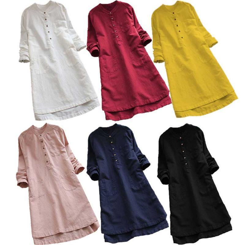 M~5xl 4xl 3xl Plus Size Cotton Linen Dresses For Women Retro Loose Shirt  Dress Large Big Size Oversized Boho Dress Fall Robe Y19042902