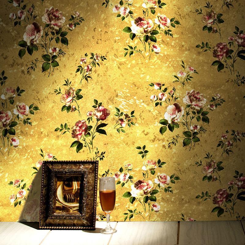 European Luxury Golden Flower 3d Wallpaper Gold Foil Vintage American  Bedroom Living Room Clothing Store Pvc Wallpaper Roll