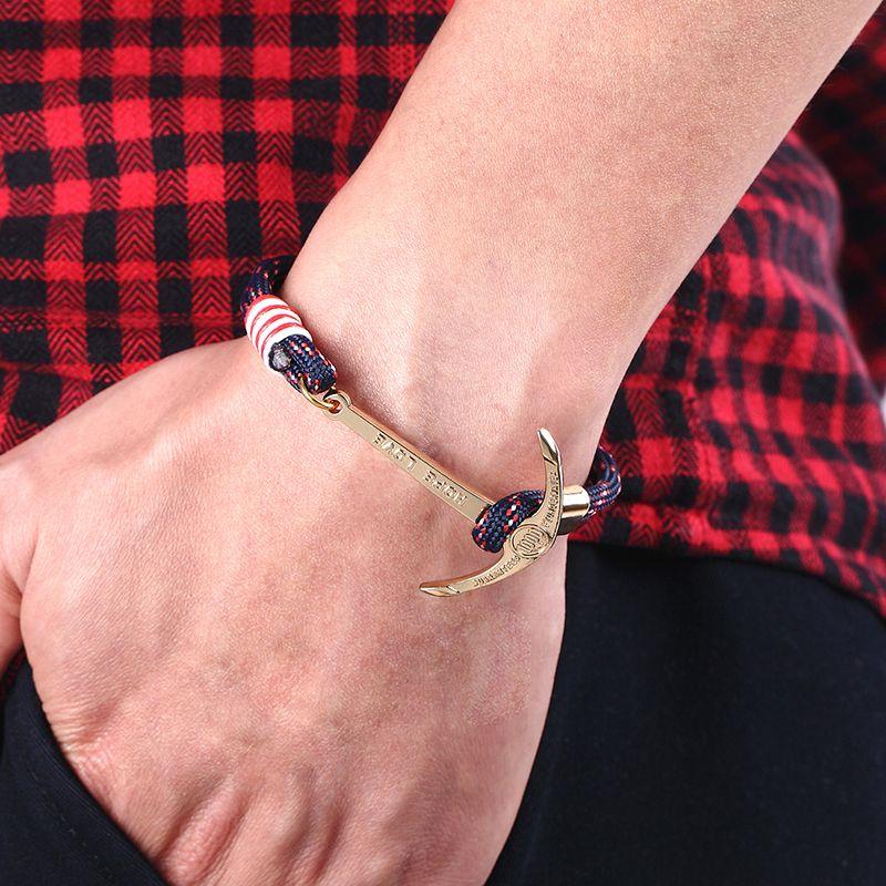 High quality fashion black anchor bracelet men's charm survival rope chain leather friendship bracelet men and women jewelry