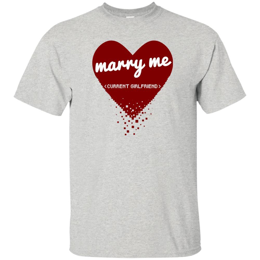 Marry Me Girlfriend Actuelle Drôle Geeky Développeur Code Tshirt Pixel Coeur Marque Chemises Jeans Imprimer T Shirt De Qualité Classique Haute