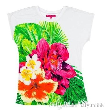 2-10 year Girls baby Sequined flower T-shirt kids short sleeves tees child Summer T-shirt Brand clothing