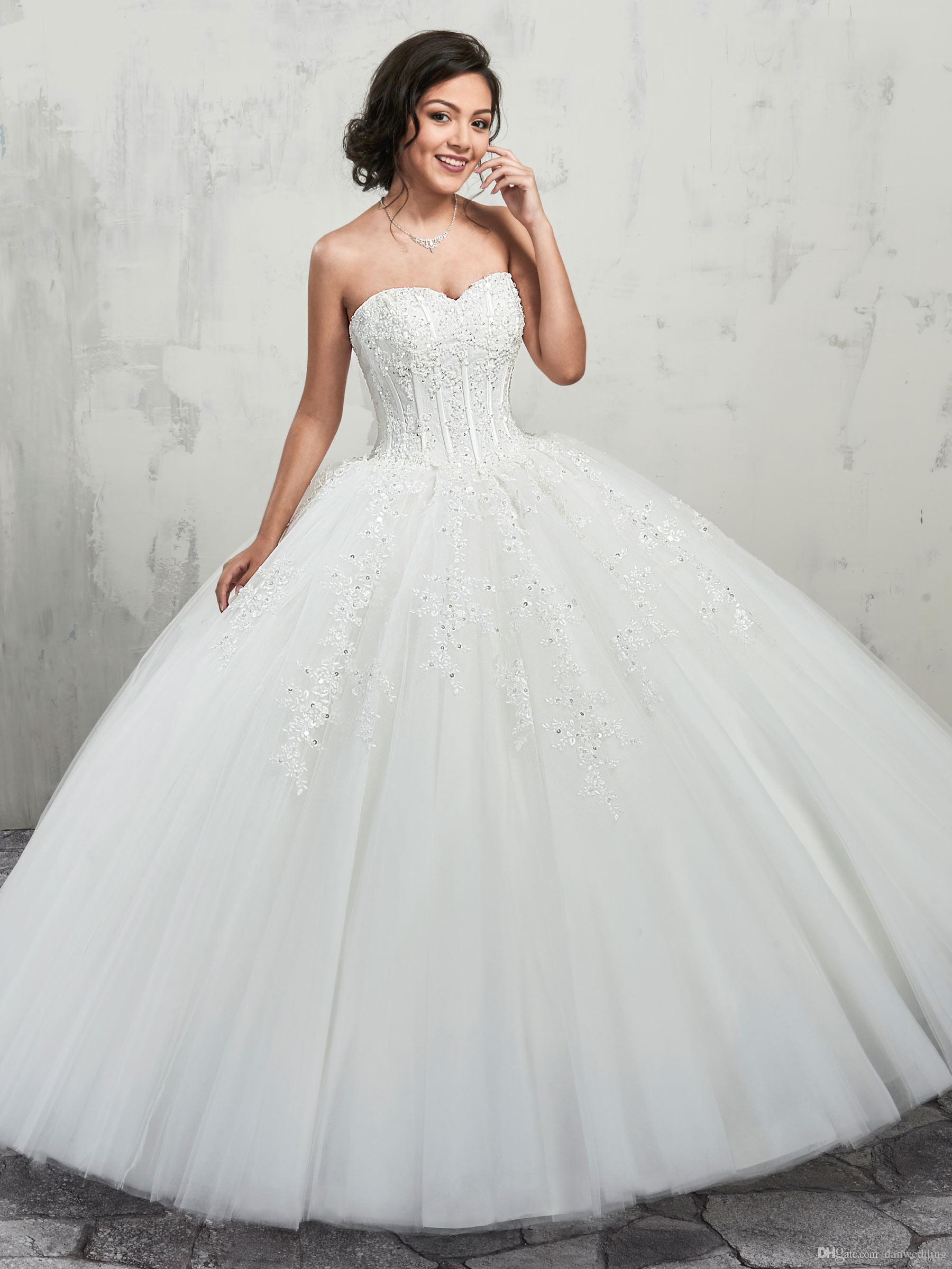 ac22801589f Grace White Sweetheart Applique Beads Ball Gown Wedding Dresses ...