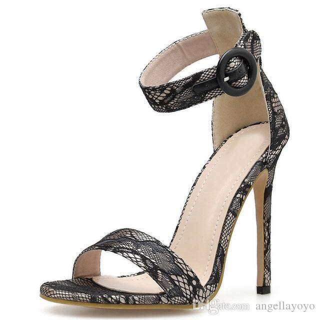 Sexy Heel Heeled Fashion Shoes New Woman Strappy Open 11cm Silk Ankle High Toe Summer Cover Sandals Lady rCdBexo