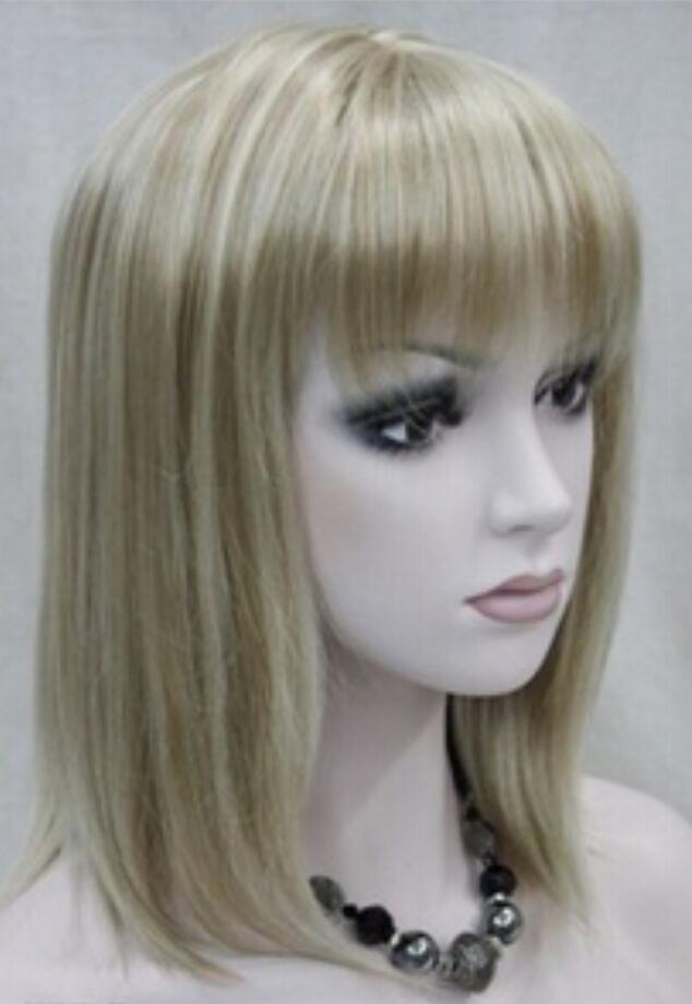 WIG Free Shipping Blond Clair Mixte Medium Court Femmes Dames Hivision Perruque Complète Quotidienne
