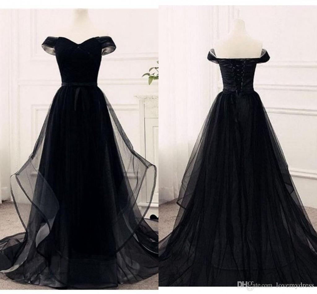 0b62b4c5ac1 2019 Black Off The Shoulder Cheap Prom Dresses A Line Empire Waist Layers  Skirt Lace Up Evening Gowns Elegant Formal Party Dress Paolo Sebas Feather  Prom ...