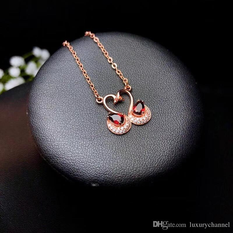 29db10bb2bf9 Swans In Love Design 925 Sterling Silver Jewelry Oval Cut Red Garnet ...