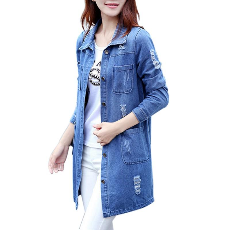 f8b43dd857c 2019 Plus Size Women Autumn Fashion Jeans Coat Loose Denim Blouses Long  Sleeve Shirts Casual Clothing 2017 Korean Clothes From Pinafore
