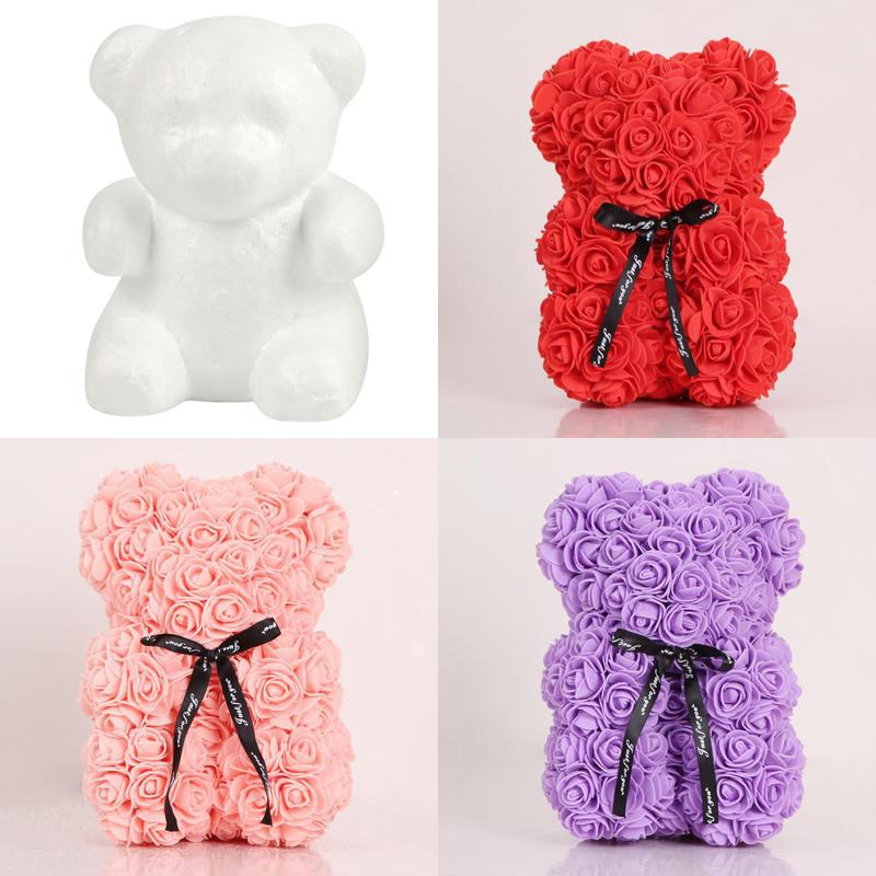 النمذجة الزهور روز الدب الستايروفوم رغوة الدب الأرنب الكلب رغوة الورود الزهور ل diy عيد الميلاد حزب الديكور هدية عيد الحب