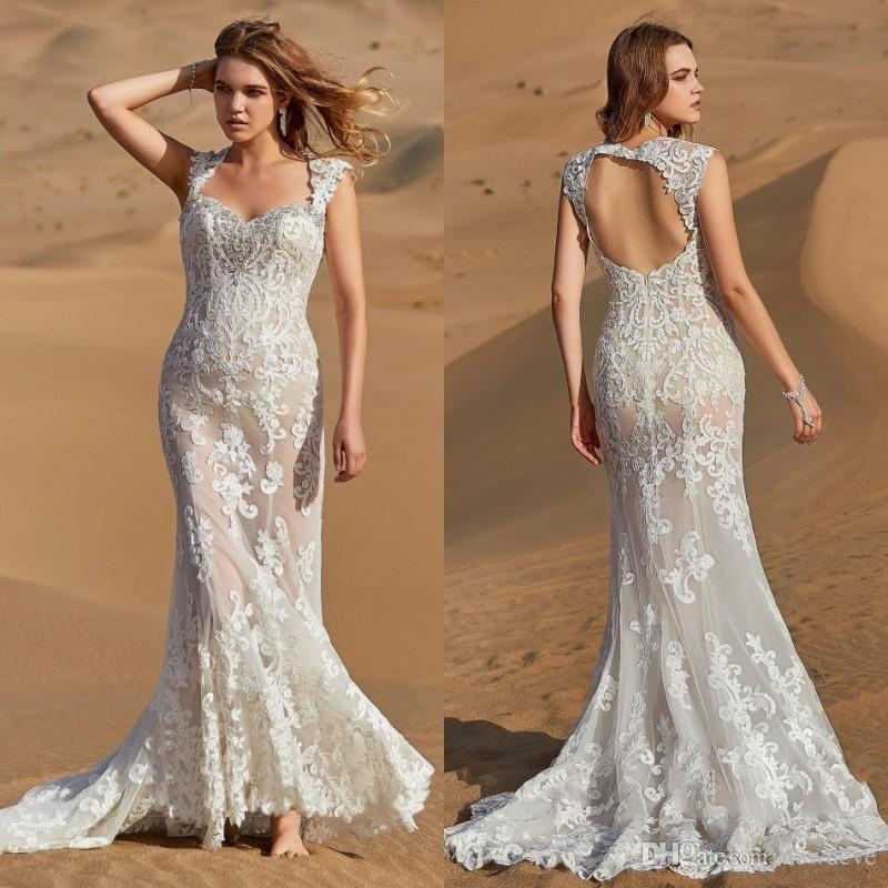 b49e062c49a99 CocoMelody 2019 Wedding Dresses Square Neck Lace Appliques Bohemian Bridal  Gowns Boho Hollow Back Mermaid Wedding Dress Robe De Mariée Make Wedding  Dress ...