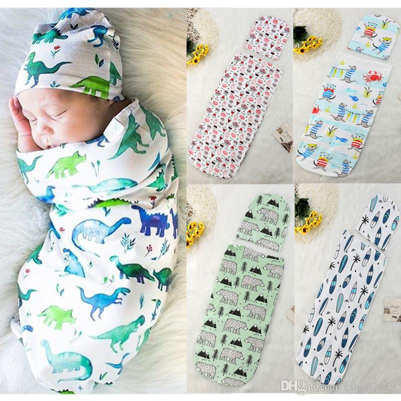 dc633623e Hot INS Baby Sleeping Bag + Hat European American Style Swaddles ...