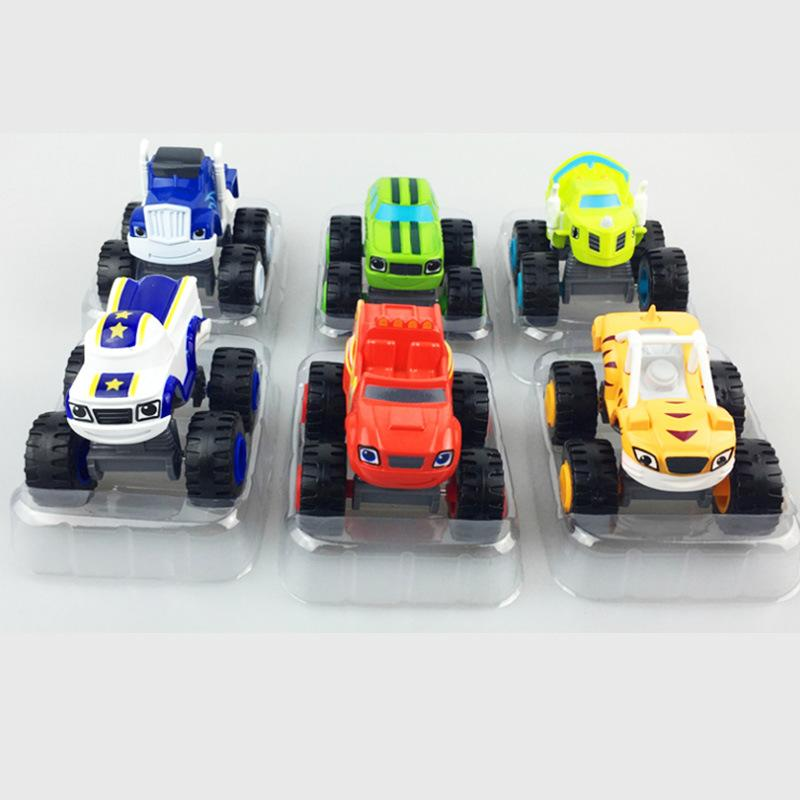 Flame And The Monster Machines Model Car Slide Power Cartoon Off-Road Model Simulated Cars Cool Kids Toy Boys 4 8ks O1