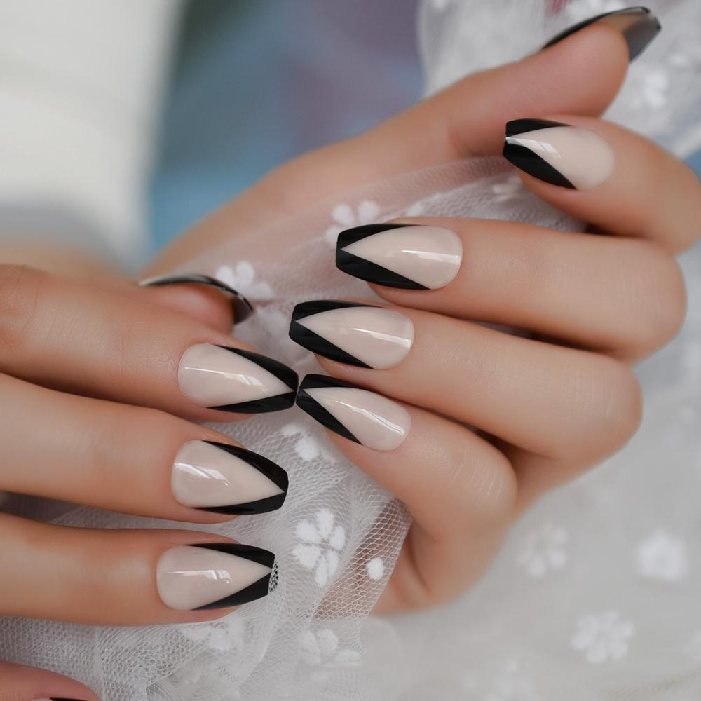 French Coffin Designed Medium Nails Nude Natural Color Tuxedo Suit ...