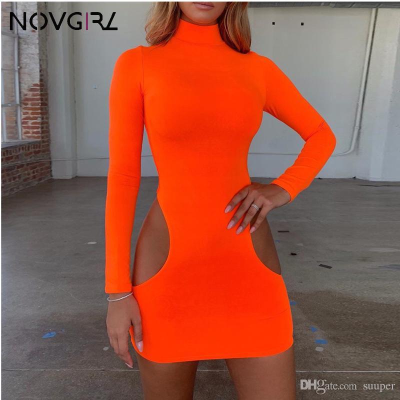 cfa399cebb4d 2019 Hollow Out Long Sleeve Bodycon Mini Dress Neon Orange Autumn ...