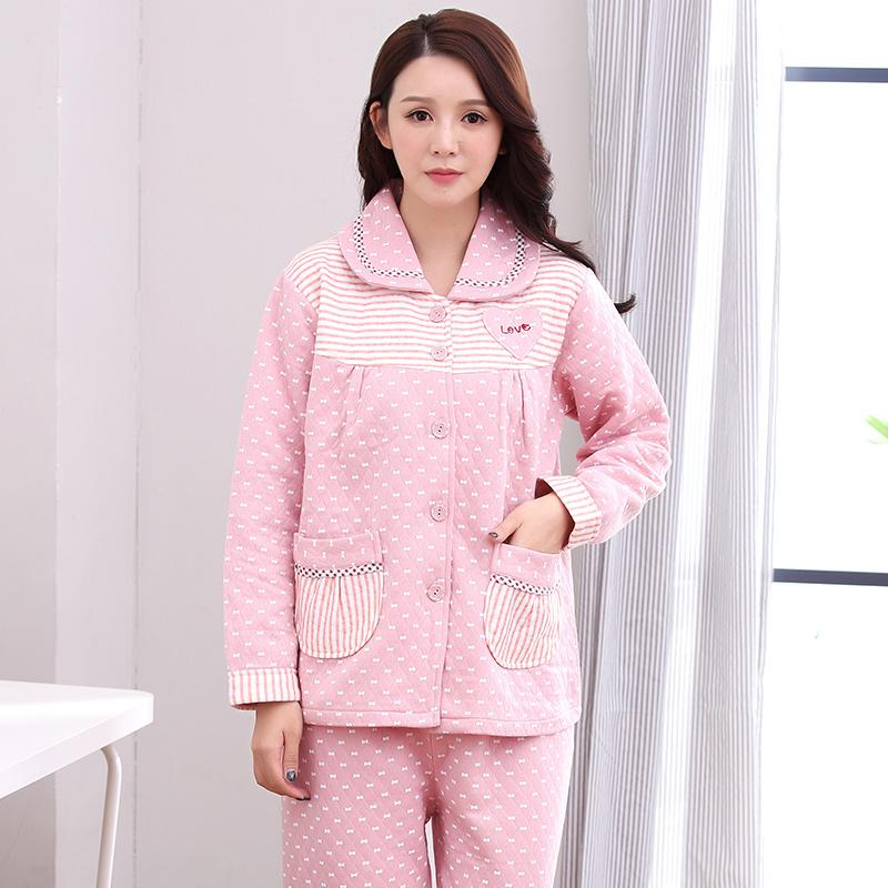 ed7a6a63a6f2 2019 J Q New Female Pink Cotton Lingerie Winter Warm Pajama Set Medium  Thick Cute Home Wear Pyjamas Women Winter Plus Size Night Suit From  Yujinnice