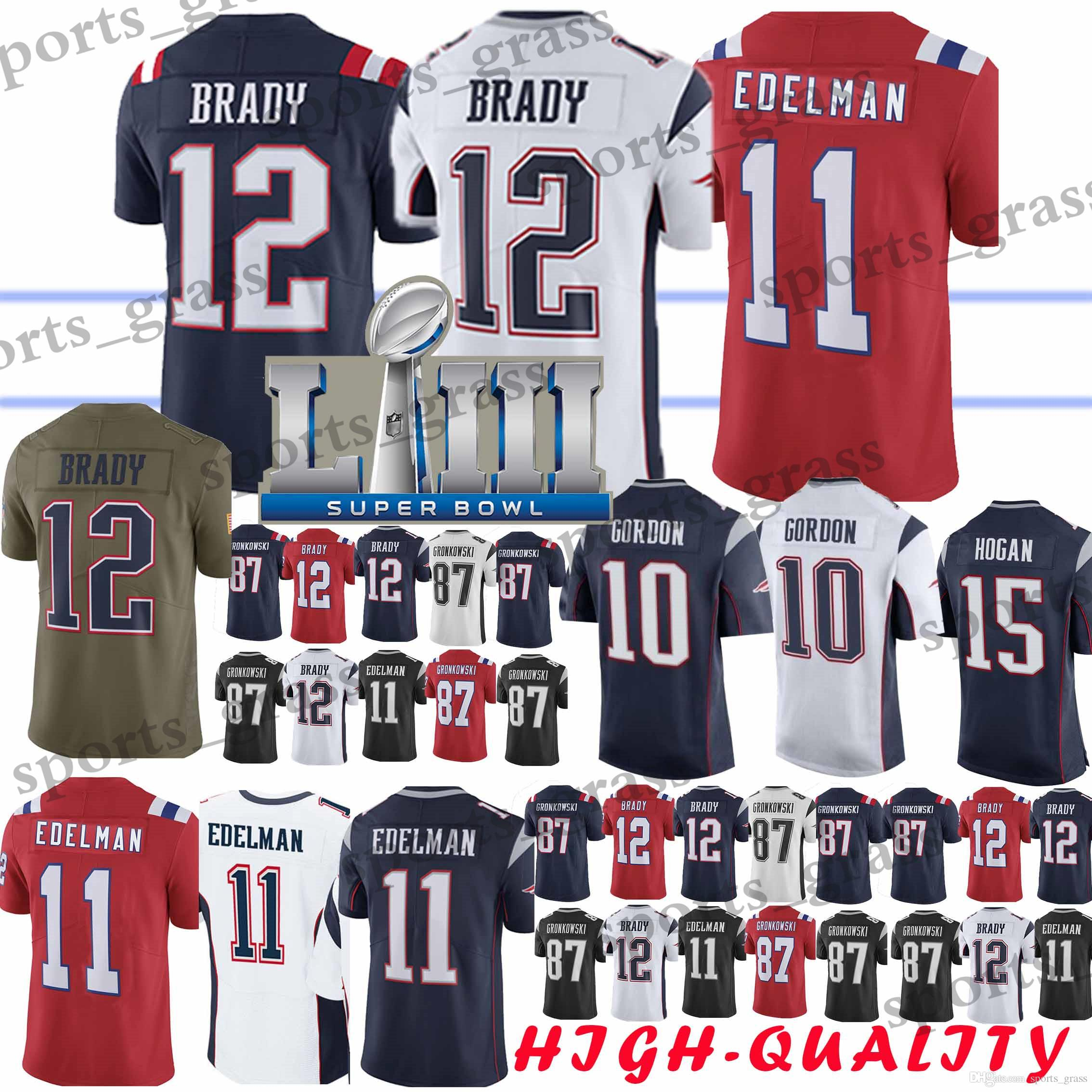 2019 10 Josh Gordon 12 Tom Brady New Patriot Jersey 11 Julian Edelman 15  Chris Hogan 87 Rob Gronkowski Jerseys 2019 Adult Shirt From Sports grass 70dd93223
