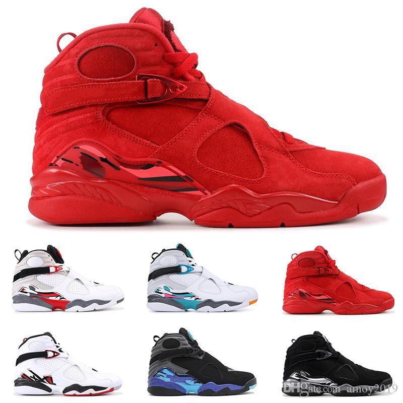 1ad480ea158 2019 Men Basketball Shoes 8s Valentines Day Aqua Chrome Countdown ...