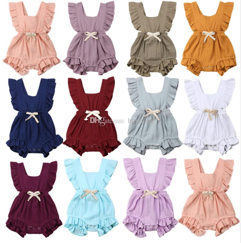 Baby Ruffle Romper Solid Color Newborn Infant Back cross Bow Jumpsuits 2019 Summer fashion Boutique kids Climbing clothes C6108