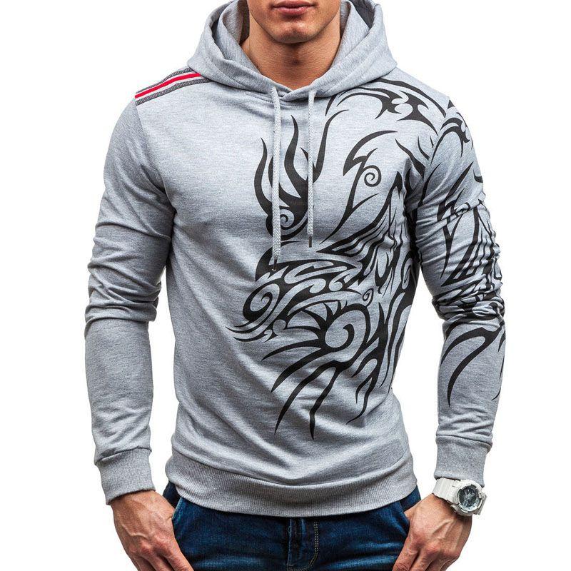Compre Nuevo Diseño Causal Negro Gris Sudaderas Primavera Invierno  Sudaderas Con Capucha Para Hombre Moda Dragón Impreso Sudadera Hombre  Chándales A  23.4 ... 4c694a7d302