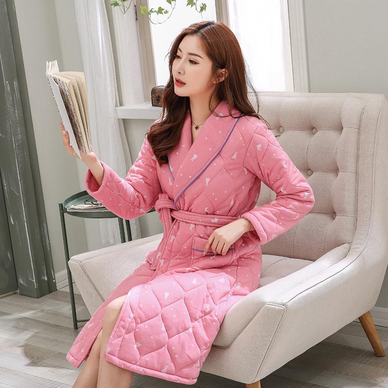 33bd6c3df1 2019 J Q Pink Bathrobe Women Home Wear Pajamas Batas De Mujer Lingerie Plus  Size Dressing Gown Robe Warm Home Clothes Cute Sleepwear From Redbud06