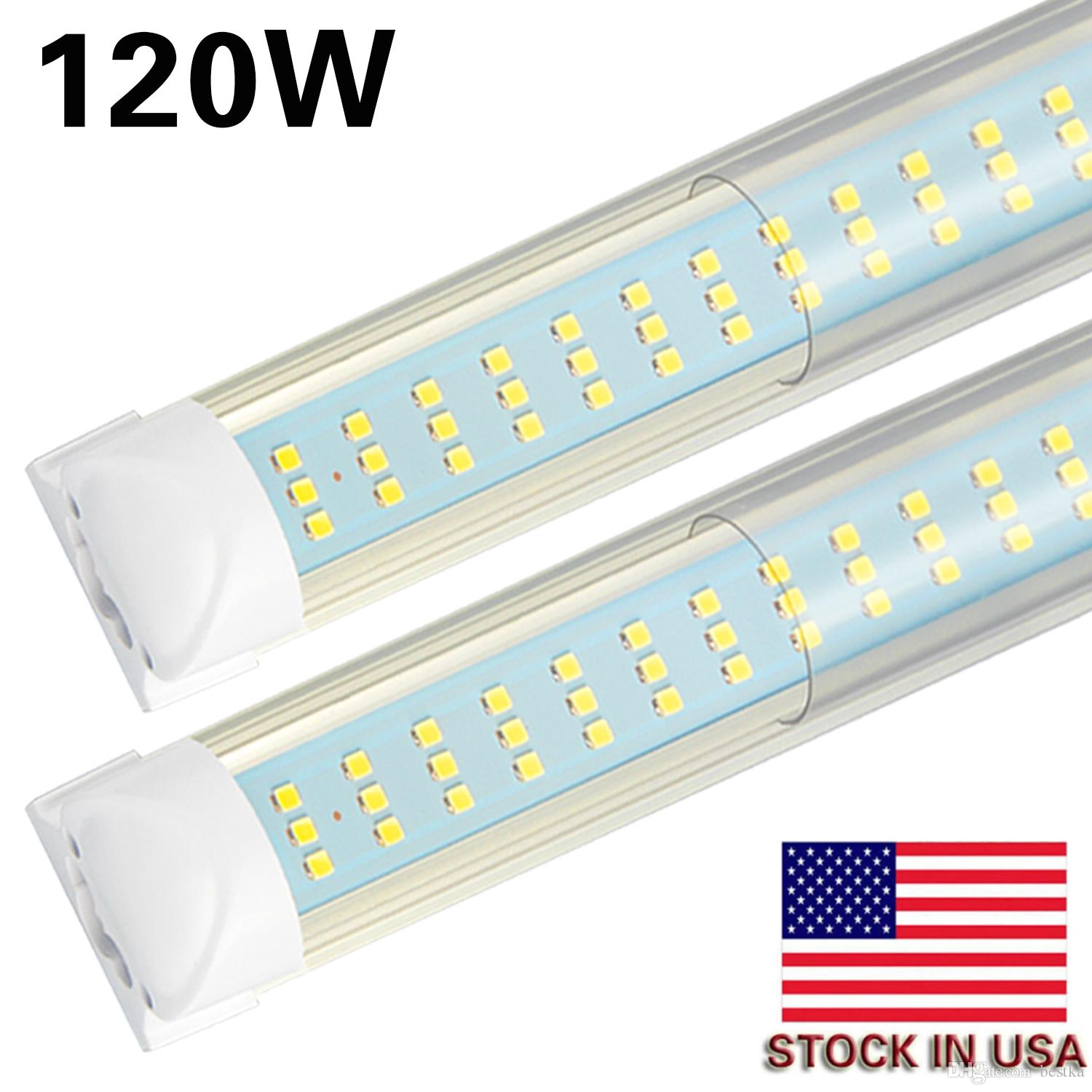 Led Shop Lights >> 8 20pcs 8ft Led Shop Lights Fixture 120w 12000lm 6000k Cool White Flat 3 Row Tube Light No Ballast Super Bright White Bulbs For Garage