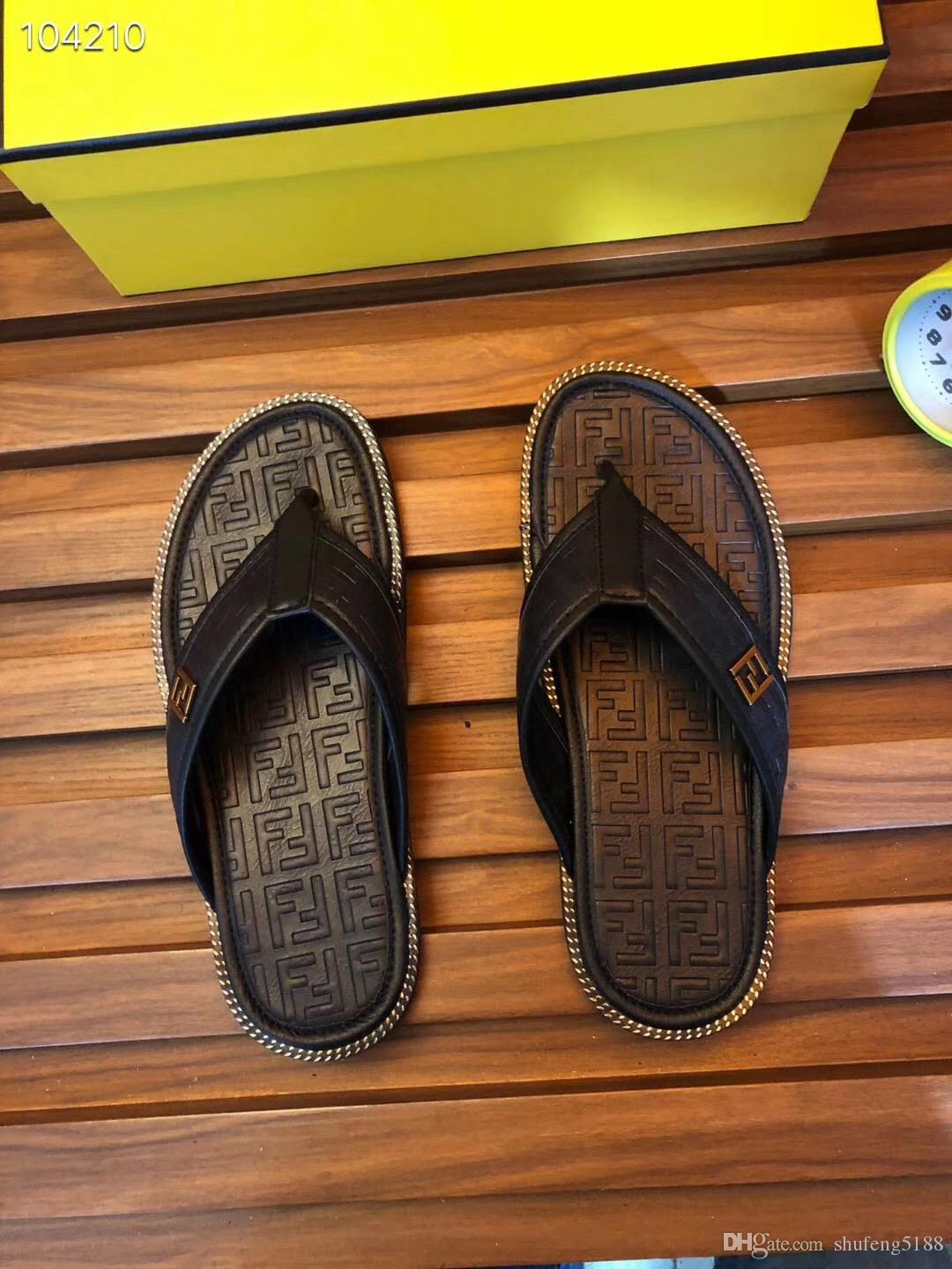 2019 Fashion Summer New Style Popular Men's Flat Espadrilles Shoes Casual Sandals Rubber Mens FF Slippers Flip Flop 38-45
