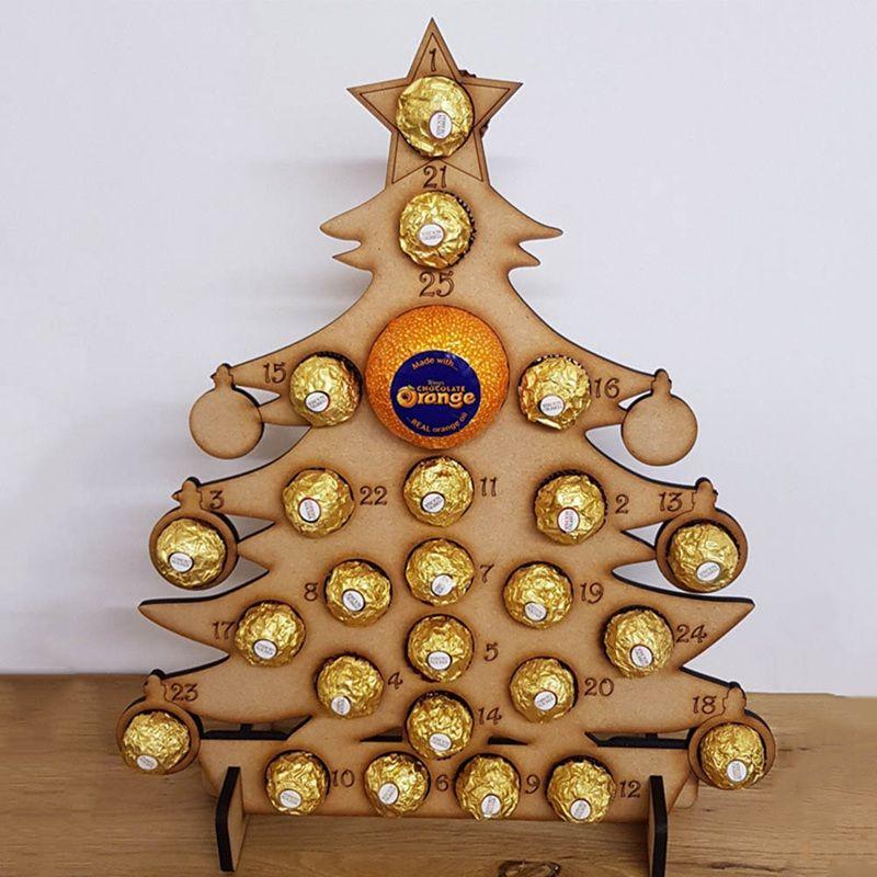 Christmas Wooden Advent Calendar Christmas Tree Decoration Countdown