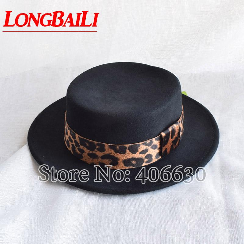7aae7fe63b3a5 LongBaiLi Fashion Leopard Band Black Wool Felt Flat Top Hats For ...