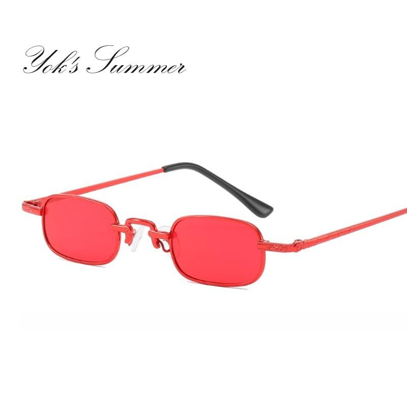 815dac9387c Yok S Vintage Small Narrow Punk Sunglasses Ultra Light Rectangle Thin Metal  Red Ocean Color Lens Glasses Fashion Shade Goggle UN1151 Mens Sunglasses  Police ...