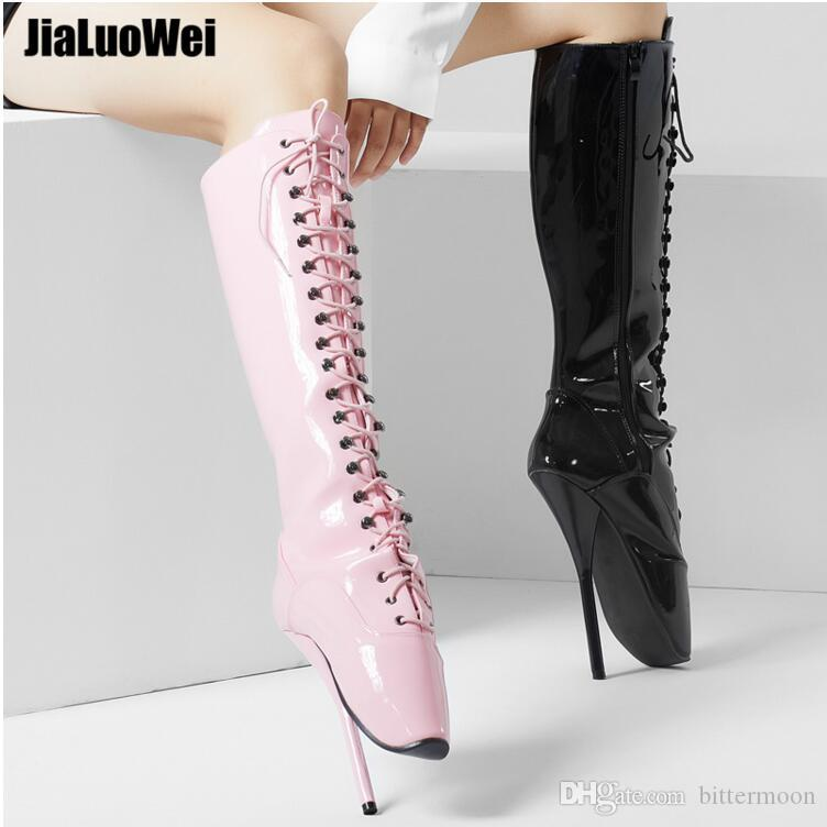 e942c2b32718 Women 18cm Spike High Heel Sexy Fetish BALLET Knee Boots Lace Up BDSM  Unisex Boots Zipper Plus Size Pink Black Man Cosplay Shoes Army Boots Peep  Toe Booties ...