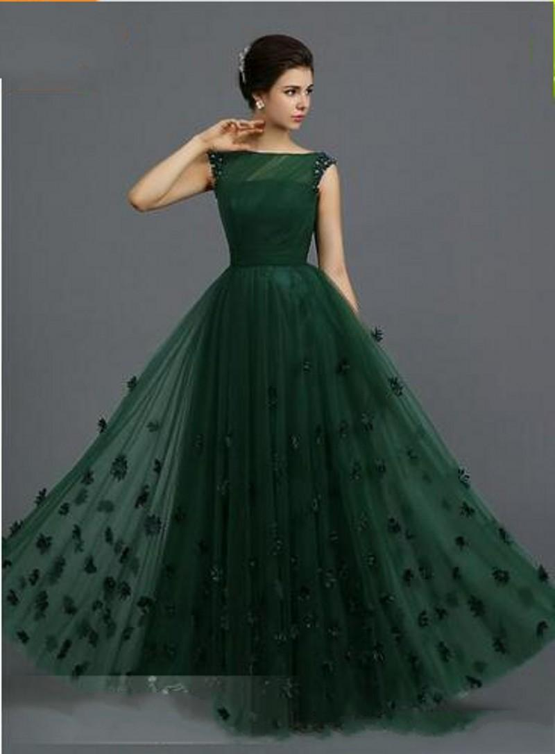 2019 New Evening Dresses with Illusion Evening Gowns Ruffled Soft Tulle A-Line Formal Dress Beaded Ball Gowns with Flowers