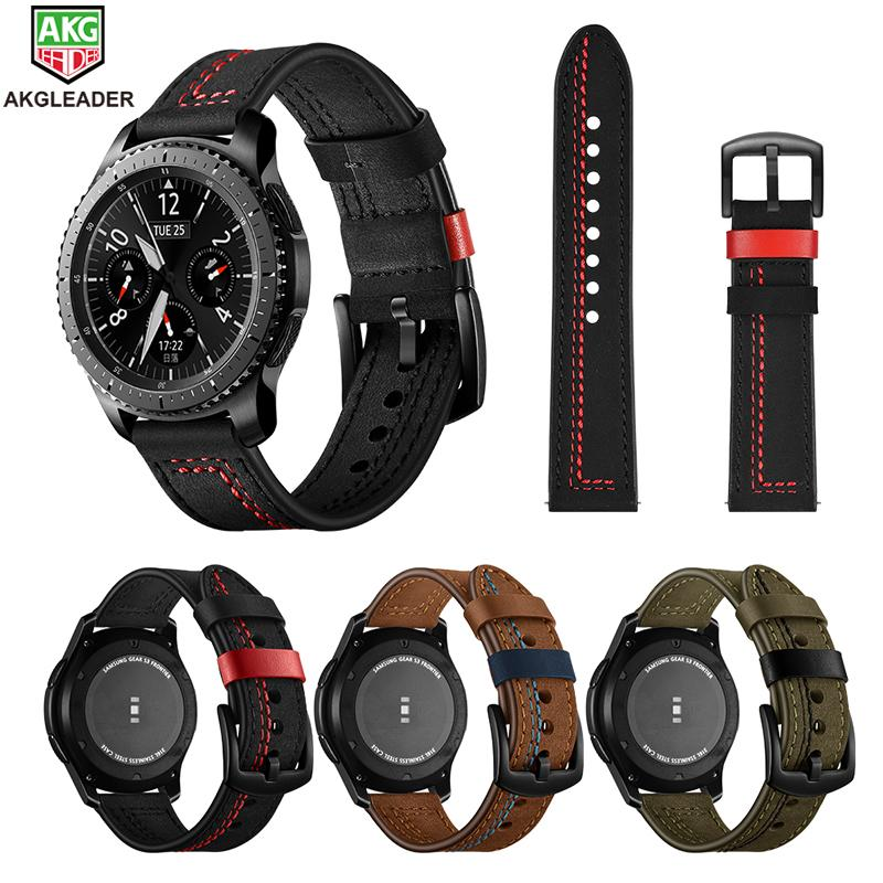 Style magnifique plus bas rabais 50% de réduction For Galaxy Watch 46mm Wrist Bands Newest Sewing Line Genuine Leather Watch  Strap Watchbands For Samsung Gear S3 22mm Band Belt
