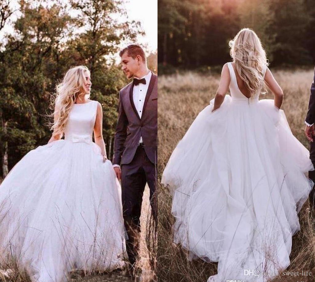 a7253f86c Discount Western Country Satin A Line Wedding Dresses 2019 Bohemian Simple  Backless Tulle Skirt Bridal Gown Plus Size With Bow Cheap Robe De Marriage  ...